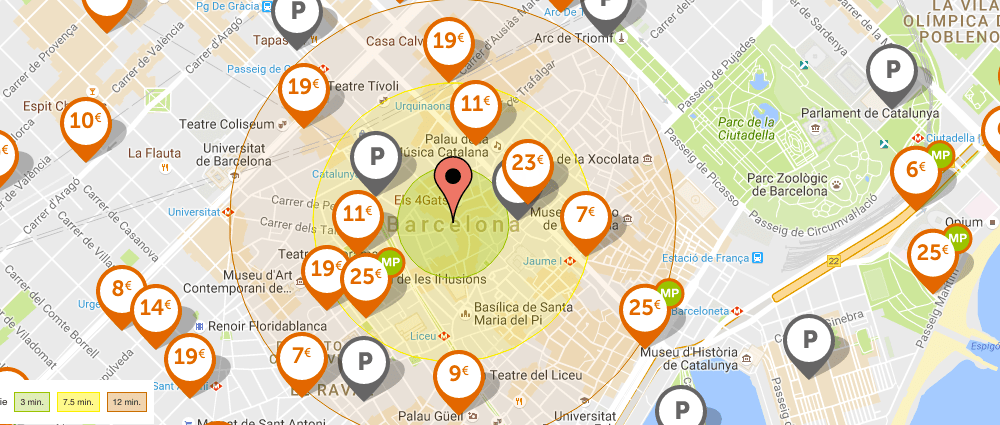 Carte des parkings Barcelone