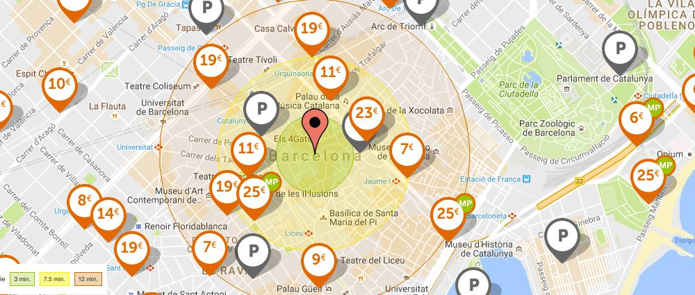 Carte des parkings Barcelone