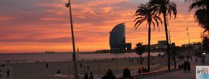 coucher de soleil plage Barcelone