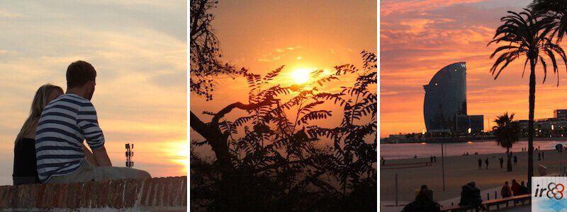 coucher de soleil et soirée à Barcelone